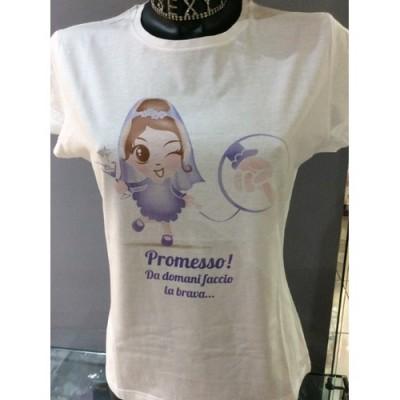 TAGLIA S  T-Shirt bianca addio al nubilato sposa con velo