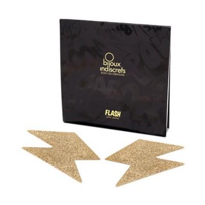 Copricapezzoli adesivi a forma di saetta dorata Flash Bolt Gold