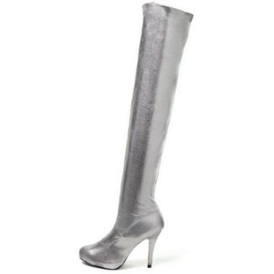 stivali leg avenue argento tacco 12 cm Womens Cosmic Thigh High Metallic Silver Boots taglia 39