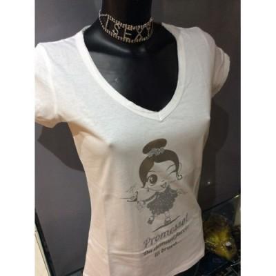 TAGLIA L T-Shirt bianca scollo V in cotone strass e glitter argento