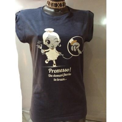 TAGLIA M T-Shirt blu slub in cotone felpatino con strass e glitter oro
