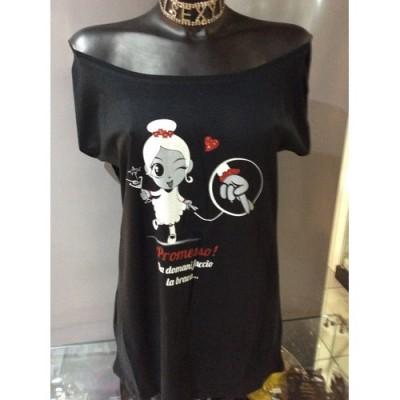 TAGLIA M T-Shirt collo a barca con  strass e glitter rossi