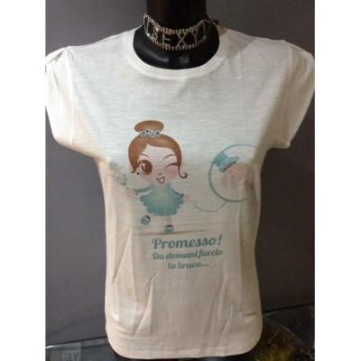 TAGLIA S T-Shirt bianca in cotone con immagine tiffany strass e glitter
