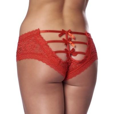 Slip con aperture e fiocchetti sul retro romantic open back briefs colore rosso taglia unica