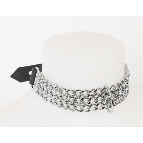 Collare con anello chiusura fibbia in cuoio e catenine di metallo