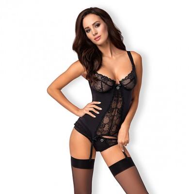 Heartina corsetto e perizoma colore nero S-M