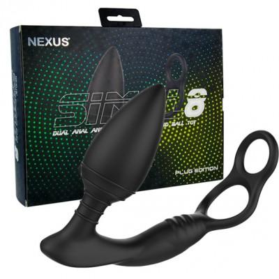 Anello vibrante con stimolatore anale Simul8 Plug Edition Vibrating Dual Motor Anal Cock & Ball Toy