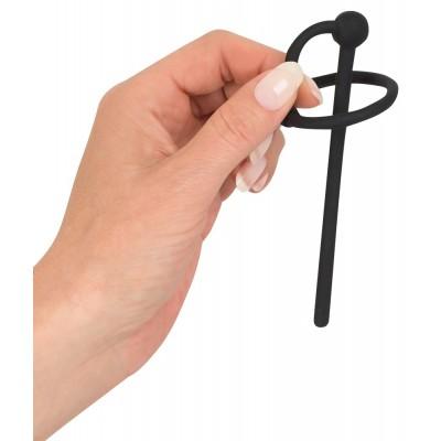 Plug uretra con foro per Piss Play e anello per il glande in silicone 10 cm