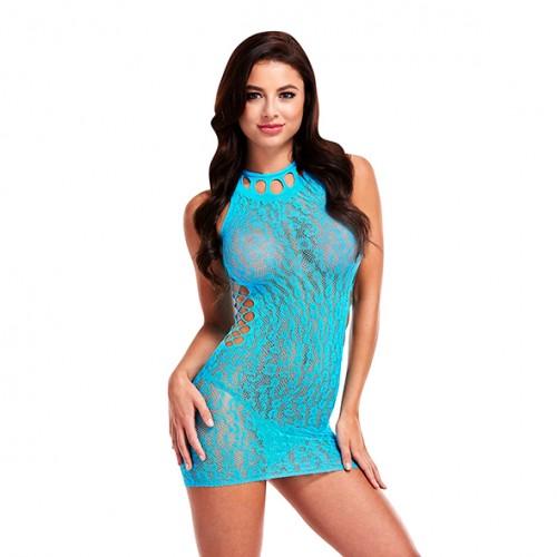 Lapdance - Leopard Lace Mini Dress Blue