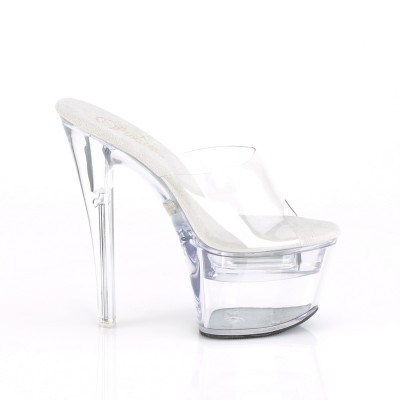 FDANCE, sandali trasparenti con LED MULTICOLORE plateau 7 cm, tacco 17,8 cm Ricaricabile USB