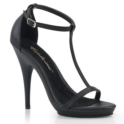 POISE 526 Sandalo nero con cinturino a T, plateau 1 cm, tacco 13 cm