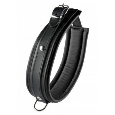 Collare bondage in vera pelle 52 cm altezza 5 cm colore nero