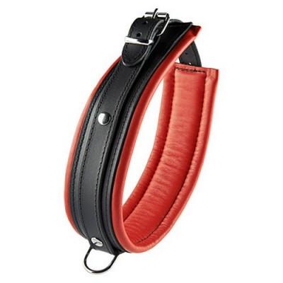Collare bondage in vera pelle 52 cm altezza 5 cm colore nero con imbottitura rossa